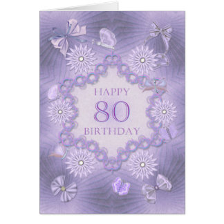 80th birthday card with lavender flowers