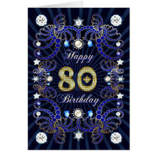 80th birthday card with masses of jewels