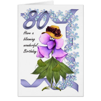 80th Birthday Card with Moonies cute bloomers,