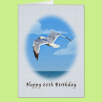 80th Birthday Card with Ring-billed Gull Bird