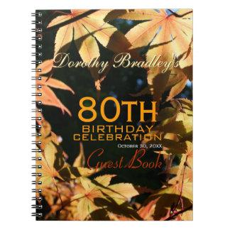 80th Birthday Celebration Autumn Custom Guest Book Notebook