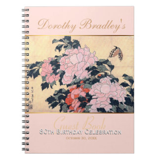 80th Birthday Celebration Butterfly Peonies Guest Spiral Notebook