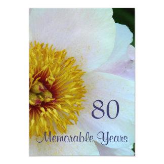 80th Birthday Celebration/Elegant White Peony Card