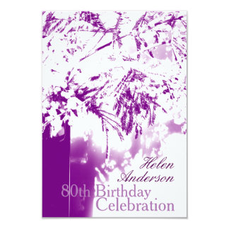 80th Birthday Celebration Flower Bouquet Custom Personalized Announcement Card