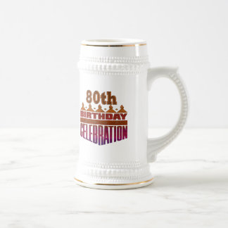 80th Birthday Celebration Gifts 18 Oz Beer Stein