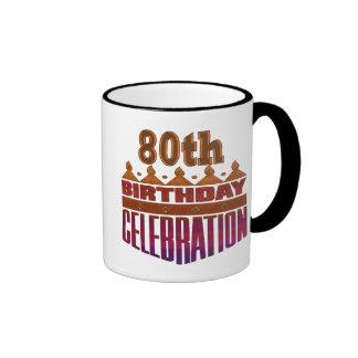 80th Birthday Celebration Gifts Ringer Coffee Mug