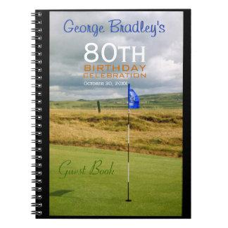 80th Birthday Celebration Golf Guest Book Spiral Notebook