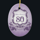 """80th Birthday Celebration Personalized Ornament<br><div class=""""desc"""">Vintage frame - Customizable Ornament. You can easily change text color,  font,  size and position by clicking the customize button.</div>"""