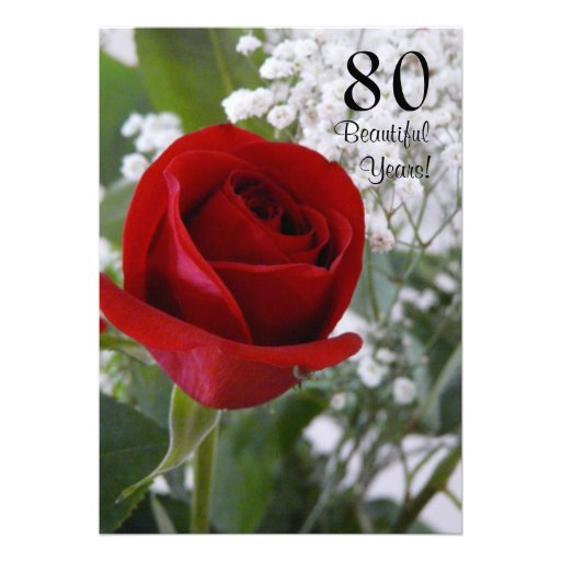 80th Birthday Celebration-Red Rose Custom Announcements