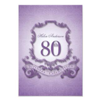 80th Birthday Celebration Vintage Frame -2- 3.5x5 Paper Invitation Card