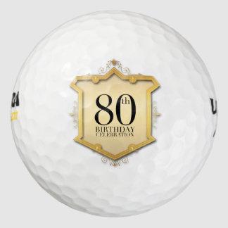 80th Birthday Celebration Vintage Frame Golf Ball