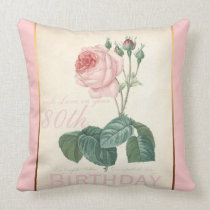 80th Birthday Celebration Vintage Rose Pillow
