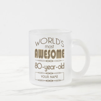 80th Birthday Celebration World Best Fabulous Frosted Glass Coffee Mug