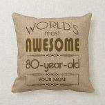 80th Birthday Celebration World Best Fabulous Throw Pillows