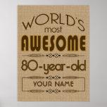 80th Birthday Celebration World Best Fabulous Poster