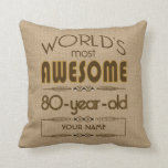"80th Birthday Celebration World Best Fabulous Throw Pillow<br><div class=""desc"">Celebrate the milestone birthday of your favorite senior citizen with this fun gift reminding them of how fabulous they are. Customize with names,  initials or other text.</div>"