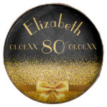 Hand shaped 80th birthday Chic golden bow with sparkle black Chocolate Dipped Oreo