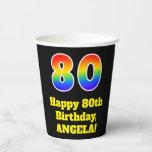 [ Thumbnail: 80th Birthday: Colorful, Fun, Exciting, Rainbow 80 ]