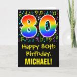 [ Thumbnail: 80th Birthday: Colorful Music Symbols + Rainbow 80 Card ]