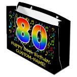 [ Thumbnail: 80th Birthday - Colorful Music Symbols, Rainbow 80 Gift Bag ]