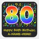 [ Thumbnail: 80th Birthday: Colorful Music Symbols, Rainbow 80 Sticker ]