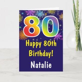 80th Birthday Colorful Rainbow Fireworks Navy Blue Card