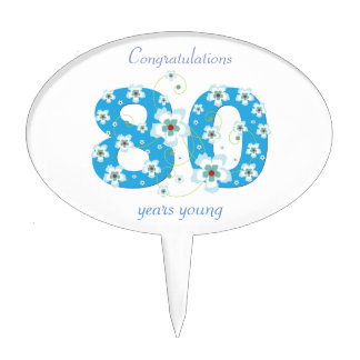 80th birthday congratulations blue flowers custom cake topper