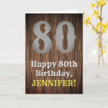 [ Thumbnail: 80th Birthday: Country Western Inspired Look, Name Card ]