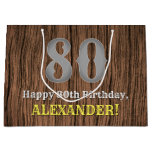 [ Thumbnail: 80th Birthday: Country Western Inspired Look, Name Gift Bag ]