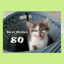 80th Birthday Crazy Kitten Card