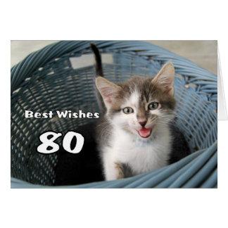 80th Birthday Crazy Kitten Card