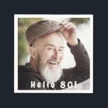 "80th birthday custom photo hello 80 for guys napkin<br><div class=""desc"">Template for Your photo.  White text overlay: Hello 80!  A napkin for a 80th birthday party for guys.</div>"