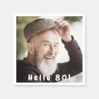 80th birthday custom photo hello 80 for guys napkin