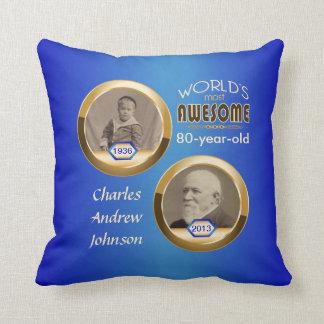 80th Birthday Custom Then Now Gold Blue Photoframe Throw Pillow