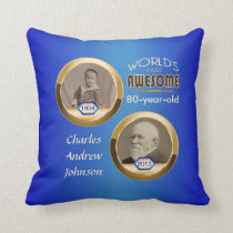 80th Birthday Custom Then Now Gold Blue Photoframe Throw Pillow