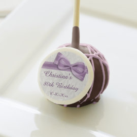 80th Birthday Damask and Faux Bow Cake Pops