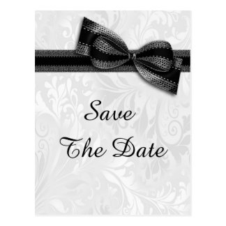80th Birthday Damask and Faux Bow Save The Date Postcard