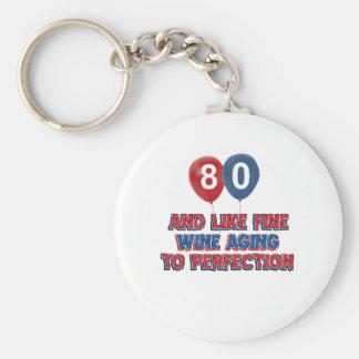 80th birthday designs basic round button keychain