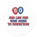 80th birthday designs classic round sticker