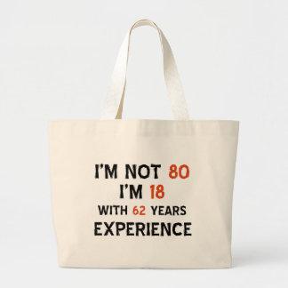 80th birthday designs large tote bag