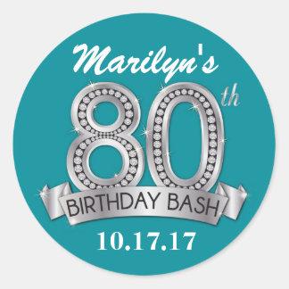 80th Birthday Diamond Stickers