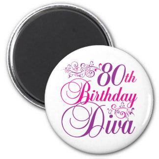 80th Birthday Diva Refrigerator Magnets
