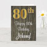 [ Thumbnail: 80th Birthday: Elegant Faux Gold Look #, Faux Wood Card ]