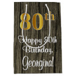 [ Thumbnail: 80th Birthday: Elegant Faux Gold Look #, Faux Wood Gift Bag ]