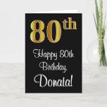 [ Thumbnail: 80th Birthday ~ Elegant Luxurious Faux Gold Look # Card ]