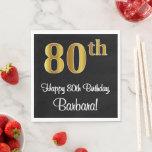 [ Thumbnail: 80th Birthday ~ Elegant Luxurious Faux Gold Look # Napkins ]