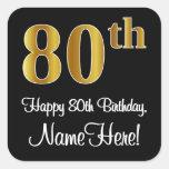 [ Thumbnail: 80th Birthday – Elegant Luxurious Faux Gold Look # Sticker ]