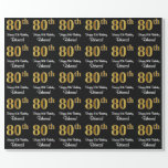 [ Thumbnail: 80th Birthday: Elegant Luxurious Faux Gold Look # Wrapping Paper ]
