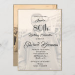 """80th Birthday Elegant Male Monogram Photo Invitation<br><div class=""""desc"""">An 80th Birthday Elegant Male Personal Monogram Birthday Invitation . The age can be changed for any age not just 80. A photo is able to be on the front and the reverse of the personal invitation. The information is easily changed to your own custom information with the word surprise...</div>"""