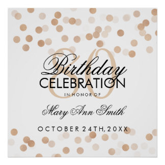 80th Birthday Faux Copper Foil Glitter Lights Poster